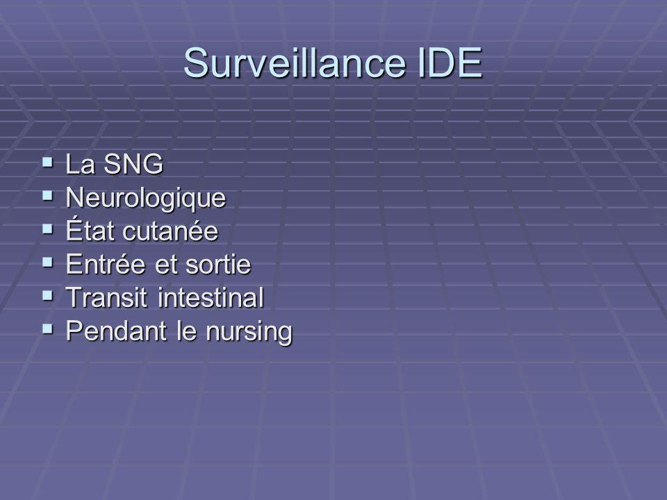 Surveillance IDE La SNG Neurologique État cutanée Entrée et sortie