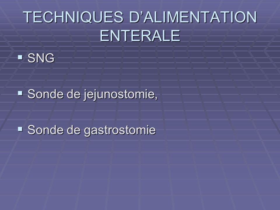 TECHNIQUES D'ALIMENTATION ENTERALE