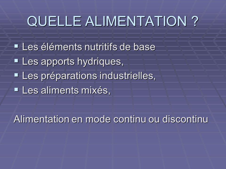 QUELLE ALIMENTATION Les éléments nutritifs de base