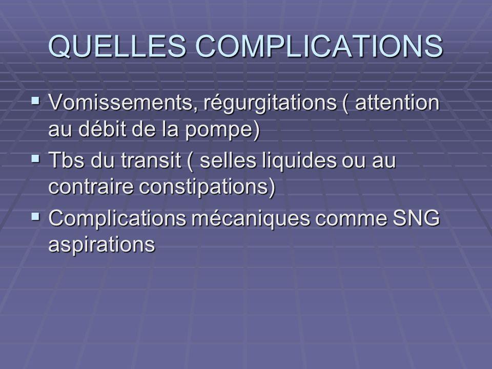 QUELLES COMPLICATIONS