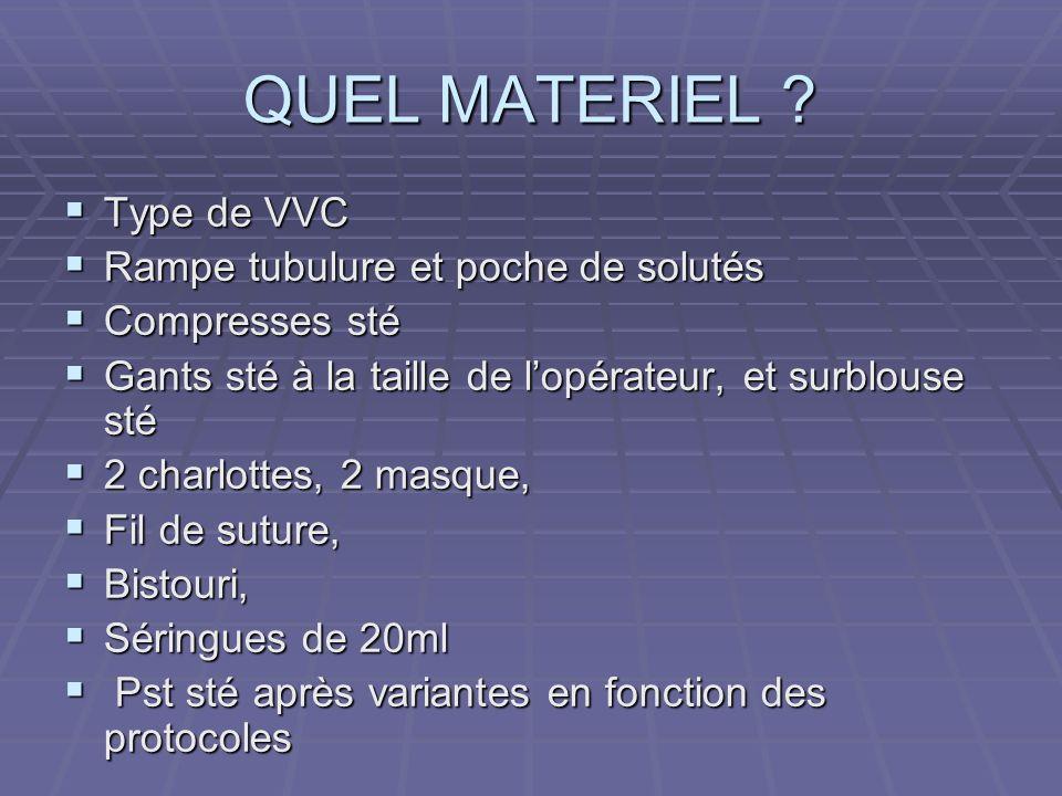 QUEL MATERIEL Type de VVC Rampe tubulure et poche de solutés