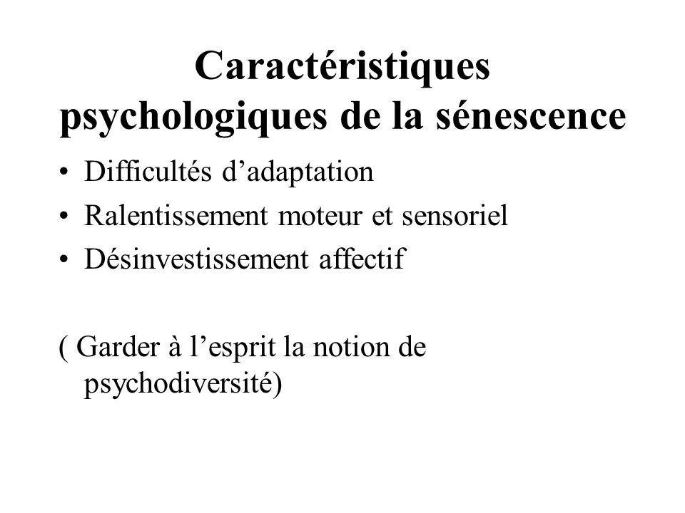 Caractéristiques psychologiques de la sénescence