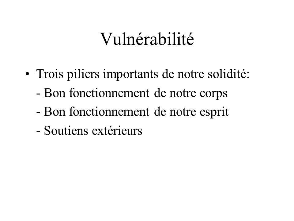Vulnérabilité Trois piliers importants de notre solidité: