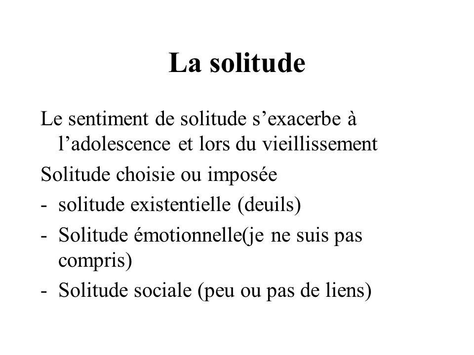 La solitude Le sentiment de solitude s'exacerbe à l'adolescence et lors du vieillissement. Solitude choisie ou imposée.
