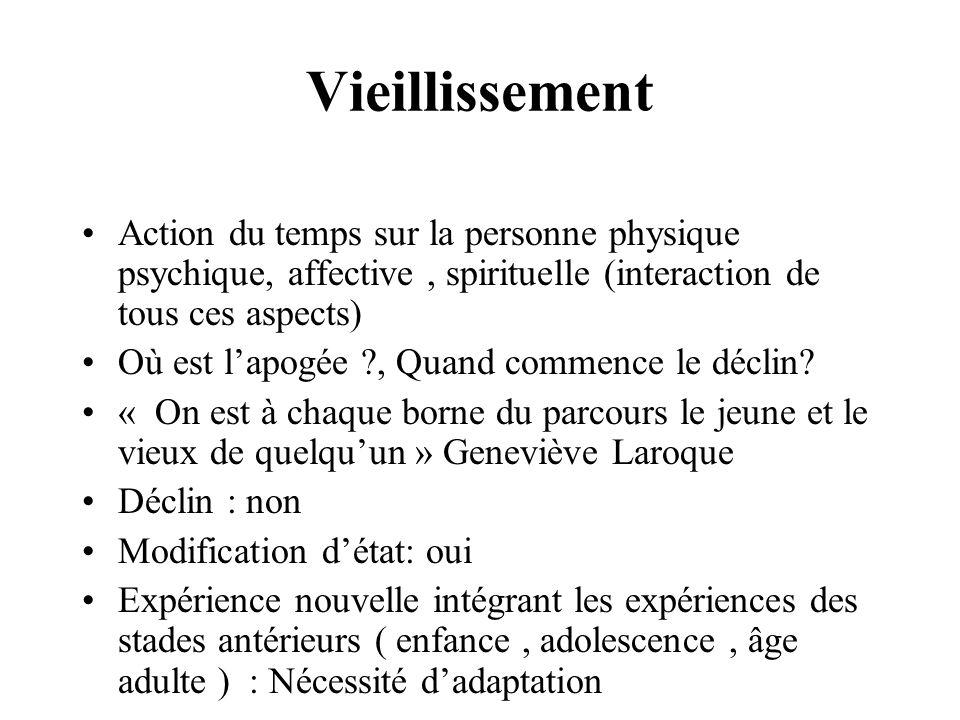 Vieillissement Action du temps sur la personne physique psychique, affective , spirituelle (interaction de tous ces aspects)