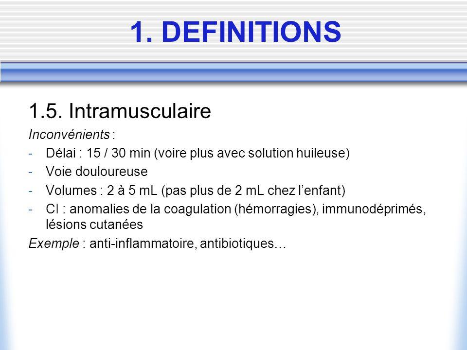 1. DEFINITIONS 1.5. Intramusculaire Inconvénients :