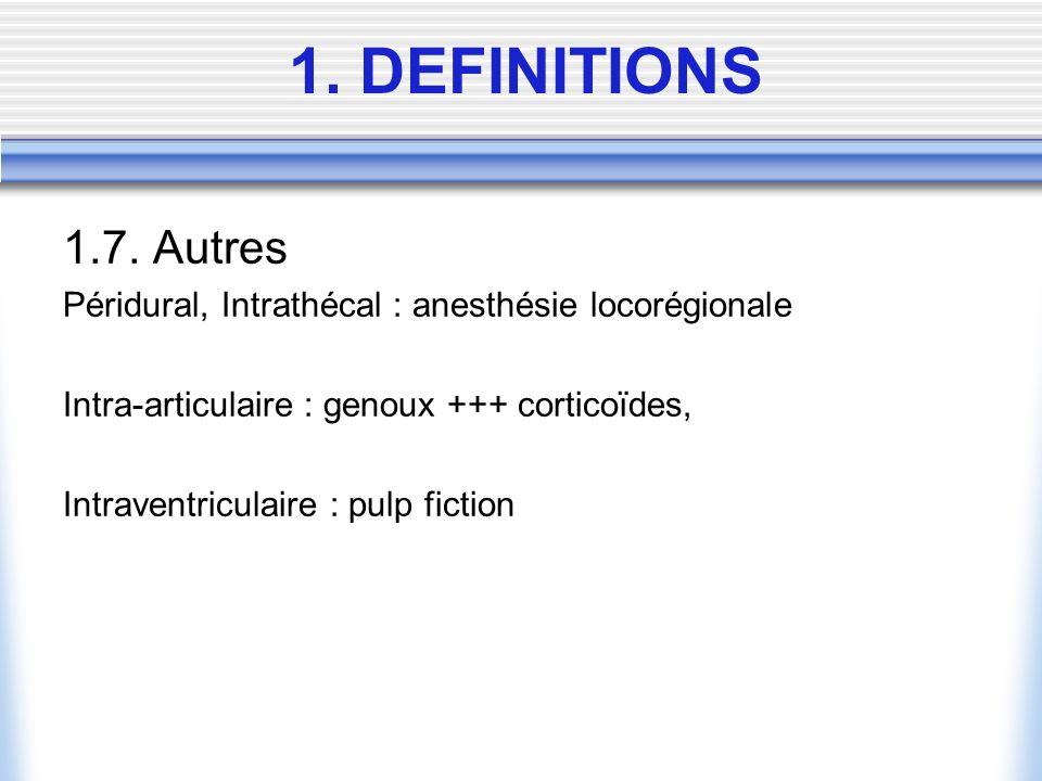 1. DEFINITIONS 1.7. Autres. Péridural, Intrathécal : anesthésie locorégionale. Intra-articulaire : genoux +++ corticoïdes,