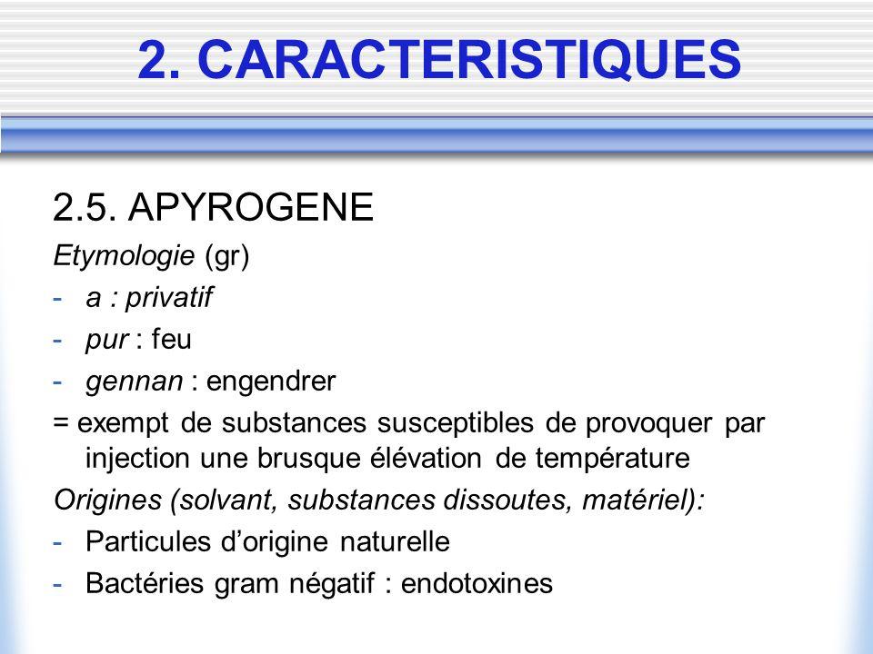 2. CARACTERISTIQUES 2.5. APYROGENE Etymologie (gr) a : privatif