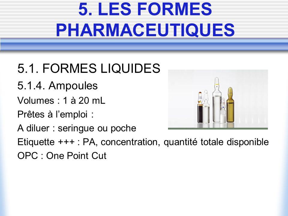 5. LES FORMES PHARMACEUTIQUES