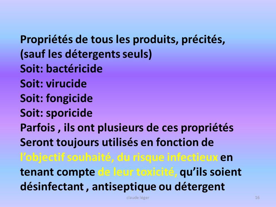 Propriétés de tous les produits, précités, (sauf les détergents seuls)