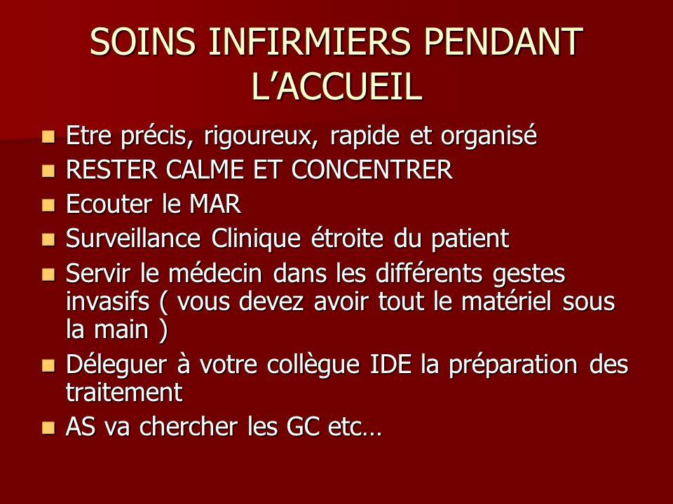 SOINS INFIRMIERS PENDANT L'ACCUEIL
