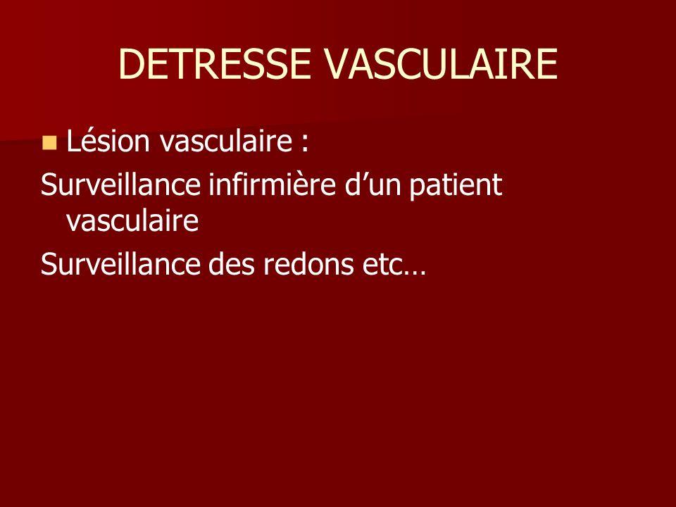 DETRESSE VASCULAIRE Lésion vasculaire :