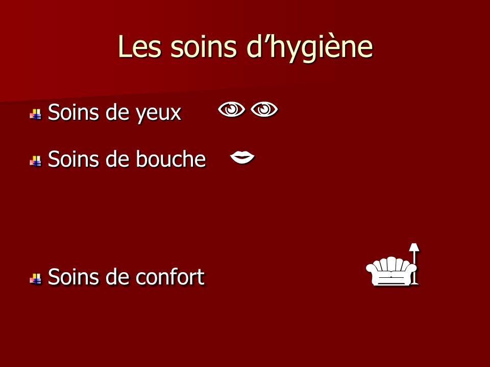 Les soins d'hygiène Soins de yeux  Soins de bouche 