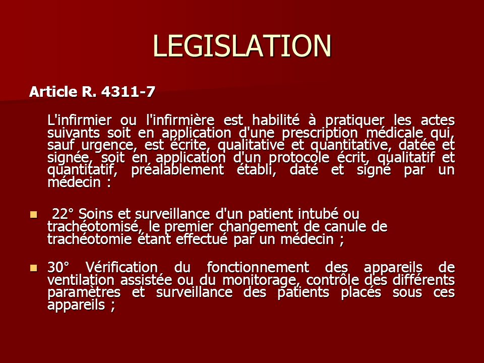 LEGISLATION Article R. 4311-7