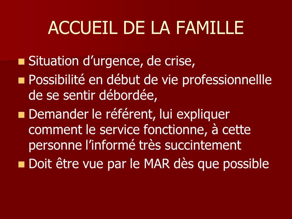 ACCUEIL DE LA FAMILLE Situation d'urgence, de crise,