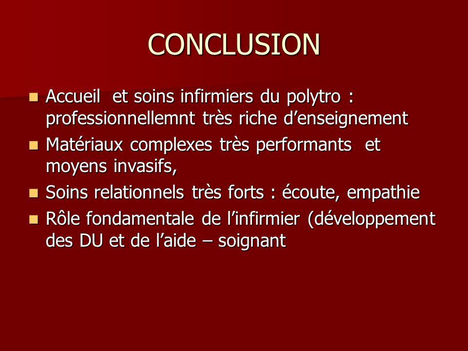 CONCLUSION Accueil et soins infirmiers du polytro : professionnellemnt très riche d'enseignement.