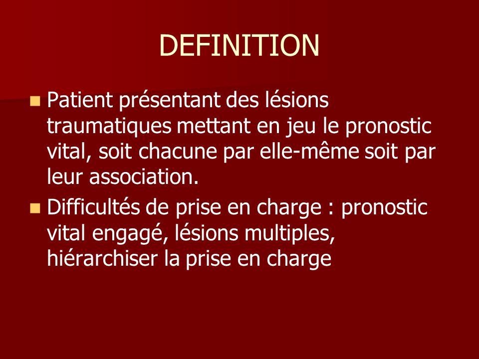 DEFINITION Patient présentant des lésions traumatiques mettant en jeu le pronostic vital, soit chacune par elle-même soit par leur association.
