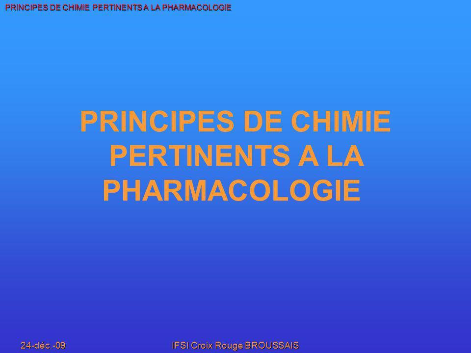 PRINCIPES DE CHIMIE PERTINENTS A LA PHARMACOLOGIE