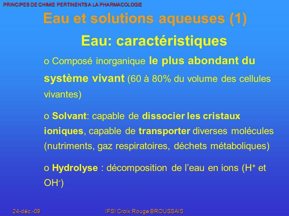 Eau et solutions aqueuses (1) Eau: caractéristiques