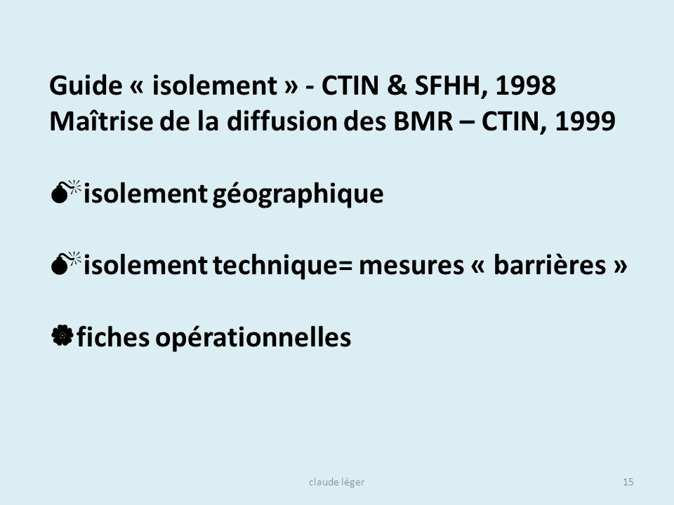 Guide « isolement » - CTIN & SFHH, 1998