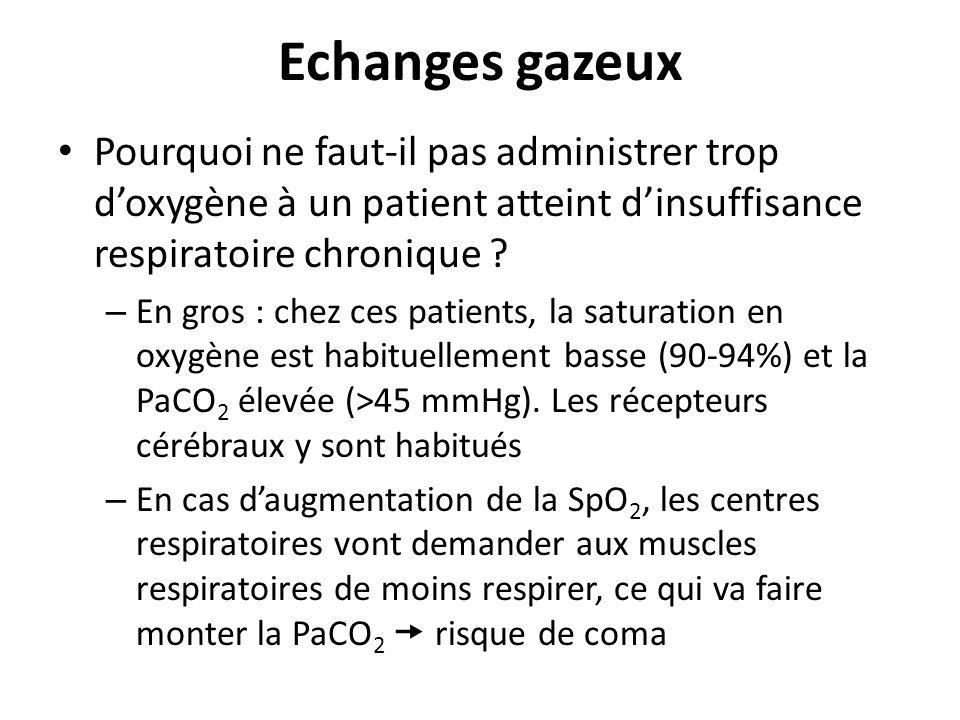 Echanges gazeux Pourquoi ne faut-il pas administrer trop d'oxygène à un patient atteint d'insuffisance respiratoire chronique