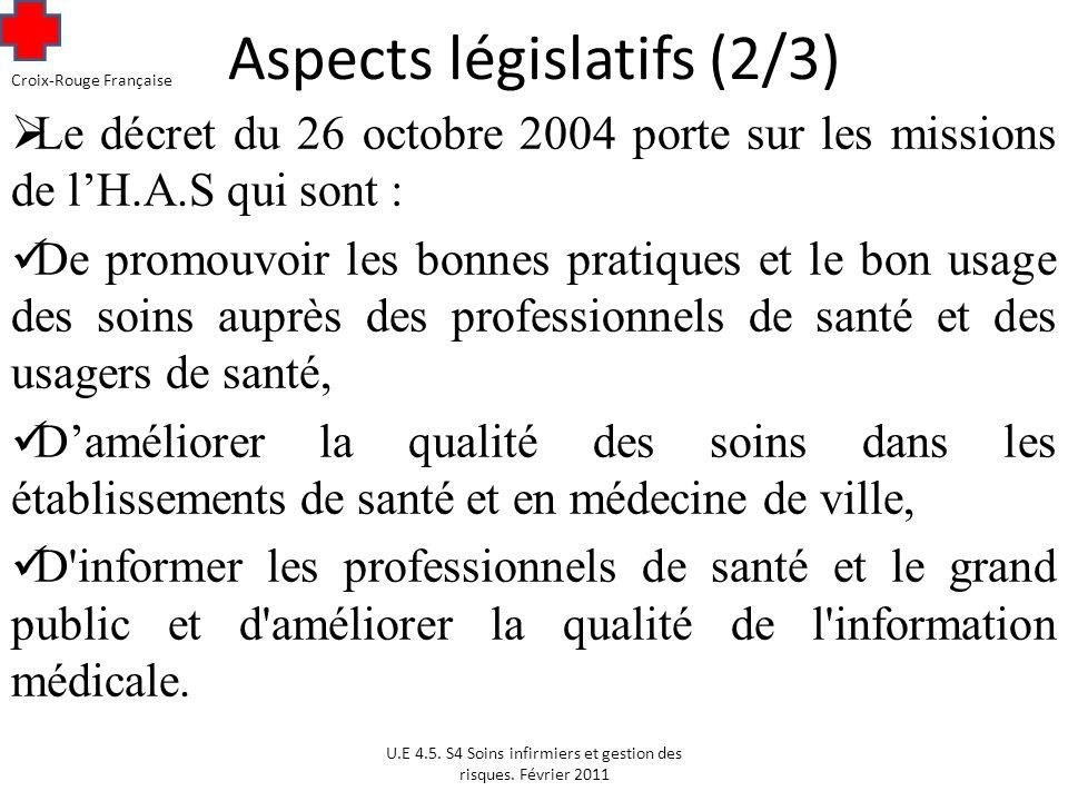 Aspects législatifs (2/3)