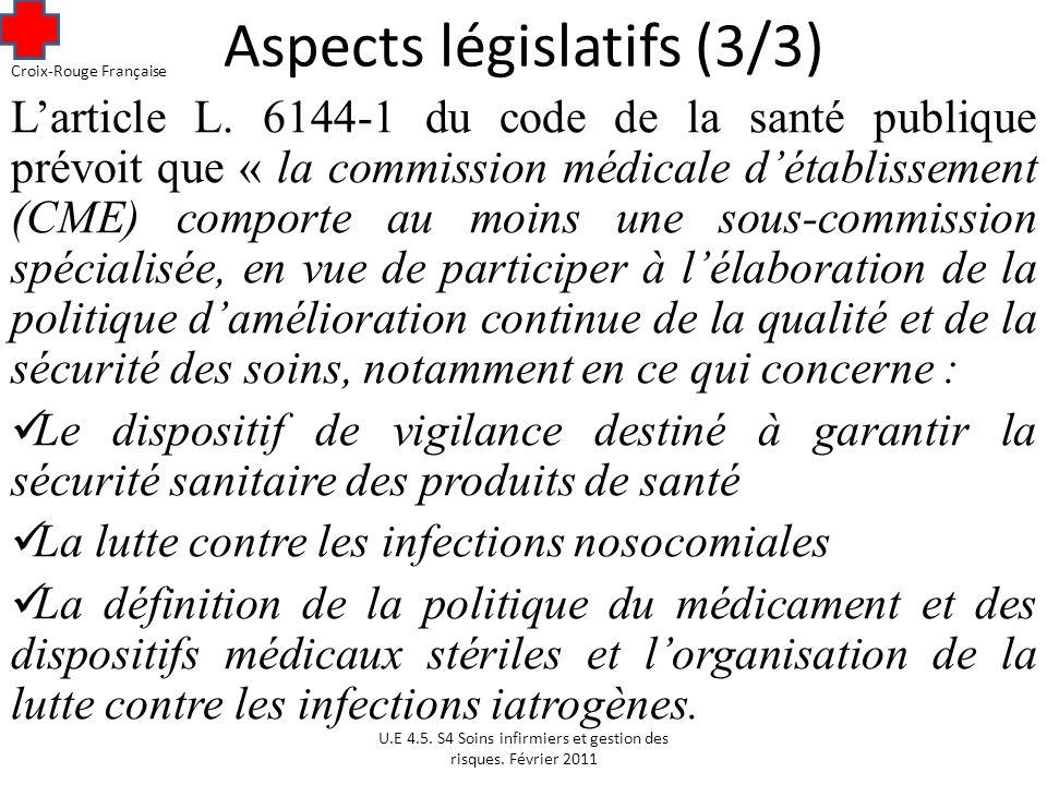 Aspects législatifs (3/3)