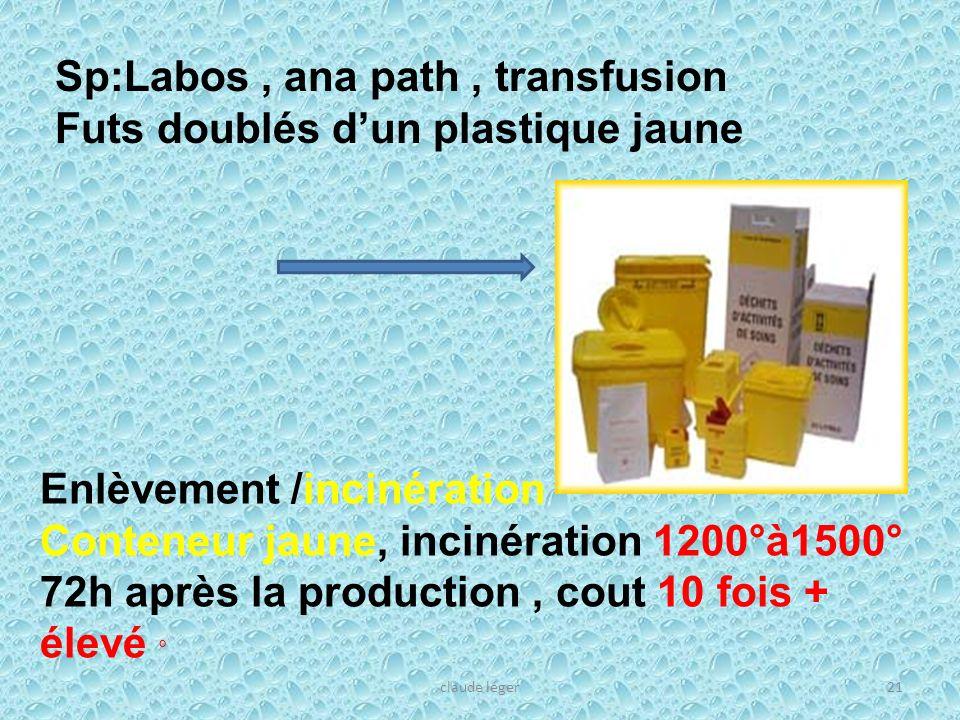 Sp:Labos , ana path , transfusion Futs doublés d'un plastique jaune