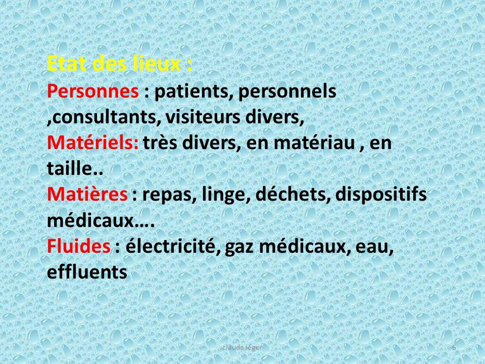Etat des lieux : Personnes : patients, personnels ,consultants, visiteurs divers, Matériels: très divers, en matériau , en taille..