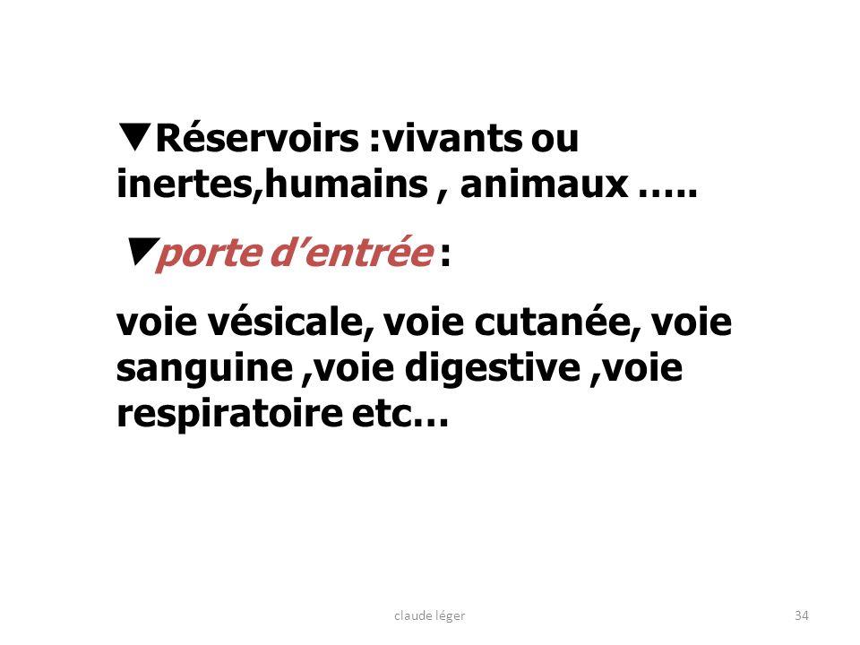 Réservoirs :vivants ou inertes,humains , animaux …..