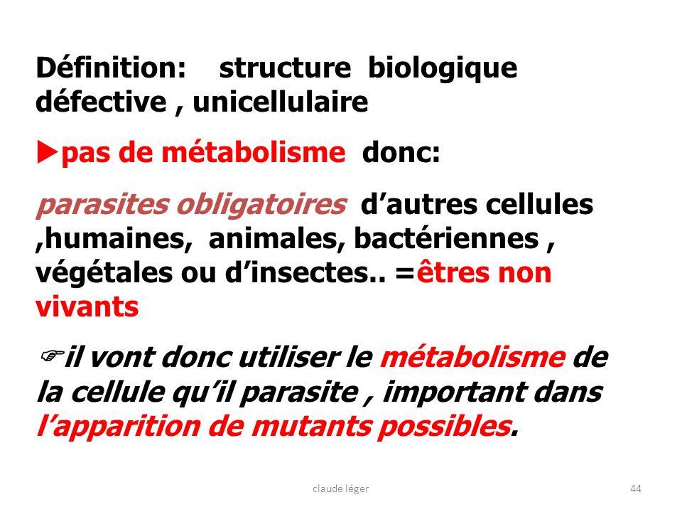 Définition: structure biologique défective , unicellulaire