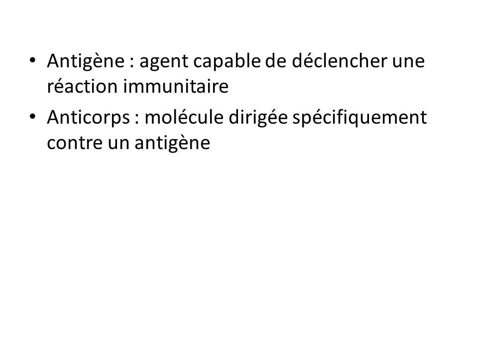 Antigène : agent capable de déclencher une réaction immunitaire