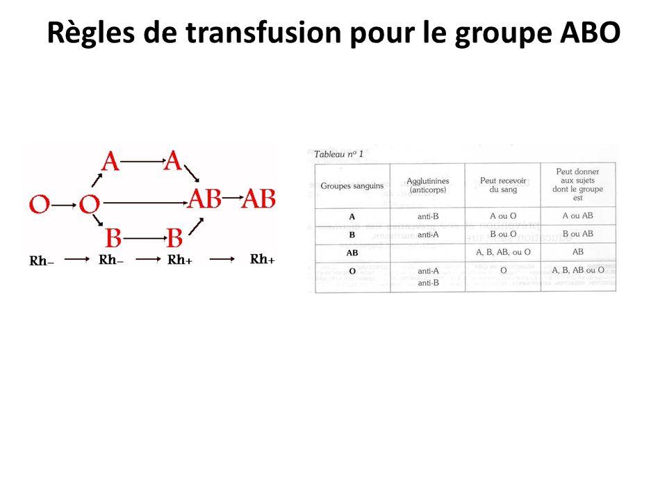 Règles de transfusion pour le groupe ABO