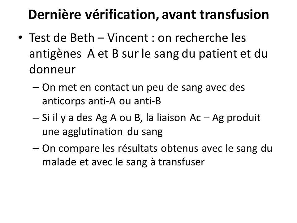 Dernière vérification, avant transfusion