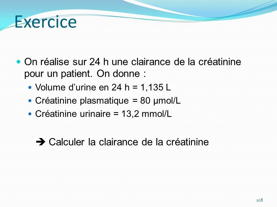 ExerciceOn réalise sur 24 h une clairance de la créatinine pour un patient. On donne : Volume d'urine en 24 h = 1,135 L.