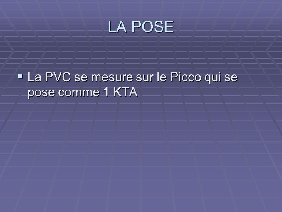 LA POSE La PVC se mesure sur le Picco qui se pose comme 1 KTA