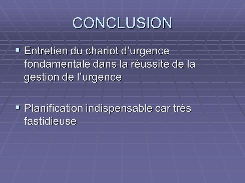 CONCLUSION Entretien du chariot d'urgence fondamentale dans la réussite de la gestion de l'urgence.