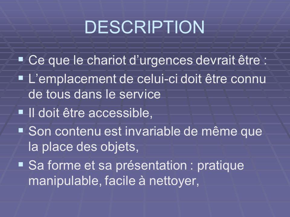 DESCRIPTION Ce que le chariot d'urgences devrait être :