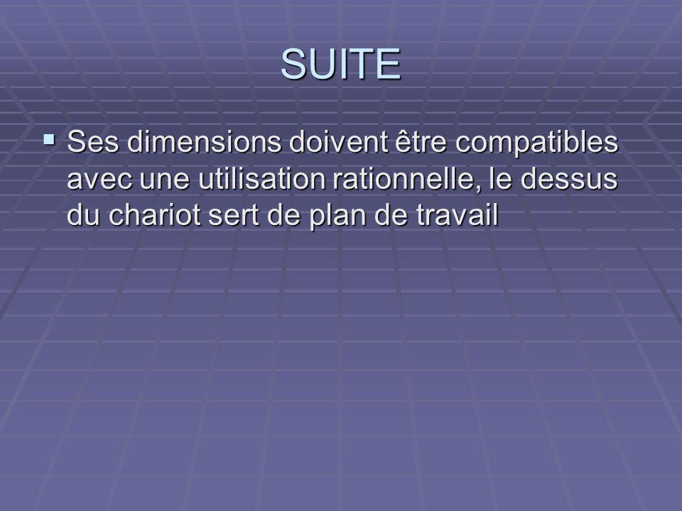 SUITE Ses dimensions doivent être compatibles avec une utilisation rationnelle, le dessus du chariot sert de plan de travail.