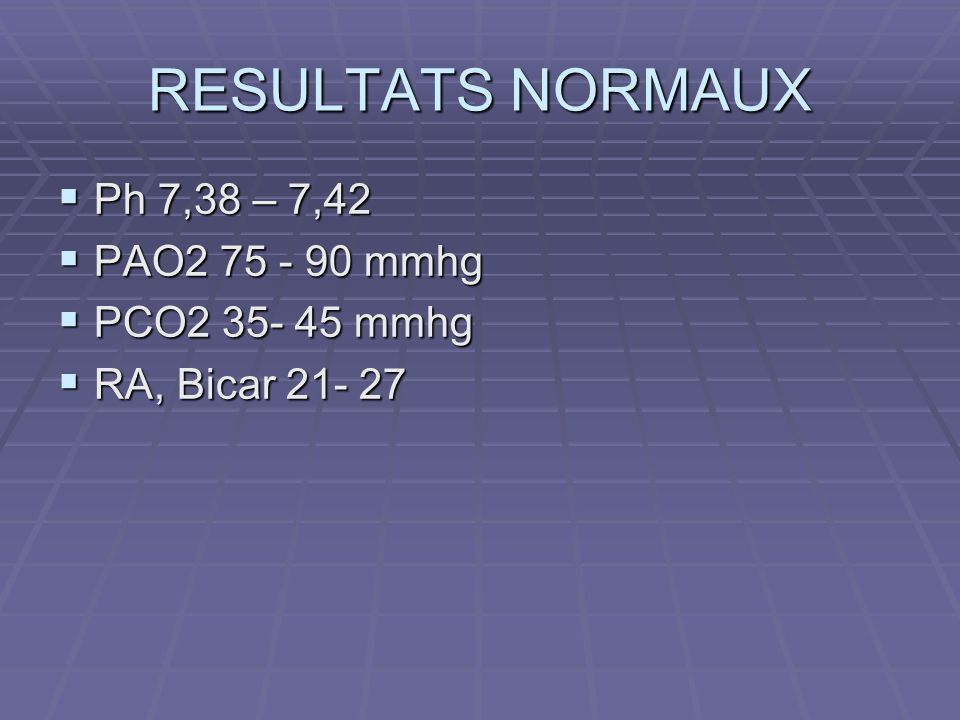 RESULTATS NORMAUX Ph 7,38 – 7,42 PAO mmhg PCO mmhg