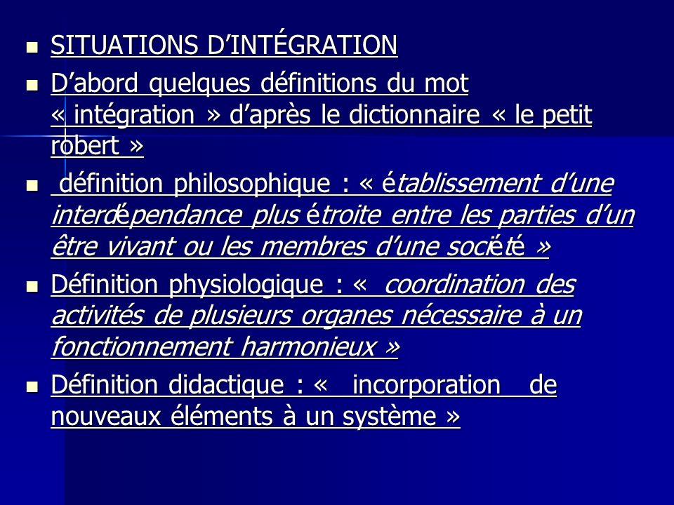 SITUATIONS D'INTÉGRATION