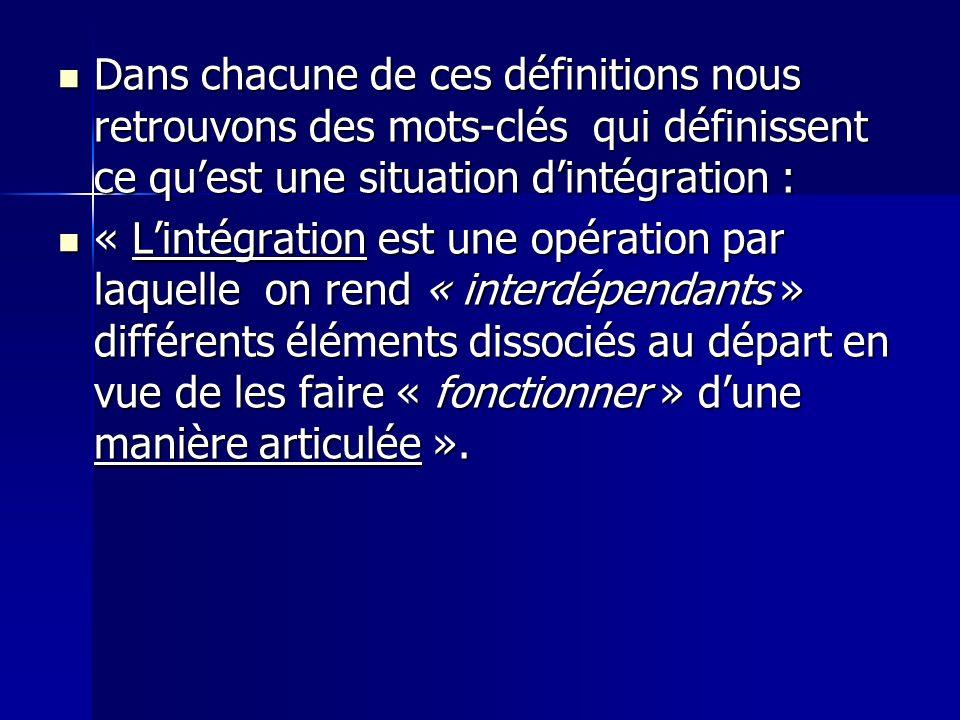 Dans chacune de ces définitions nous retrouvons des mots-clés qui définissent ce qu'est une situation d'intégration :
