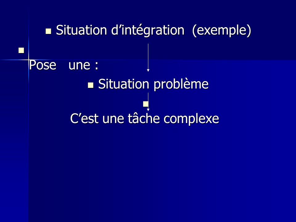 Situation d'intégration (exemple) Pose une : Situation problème