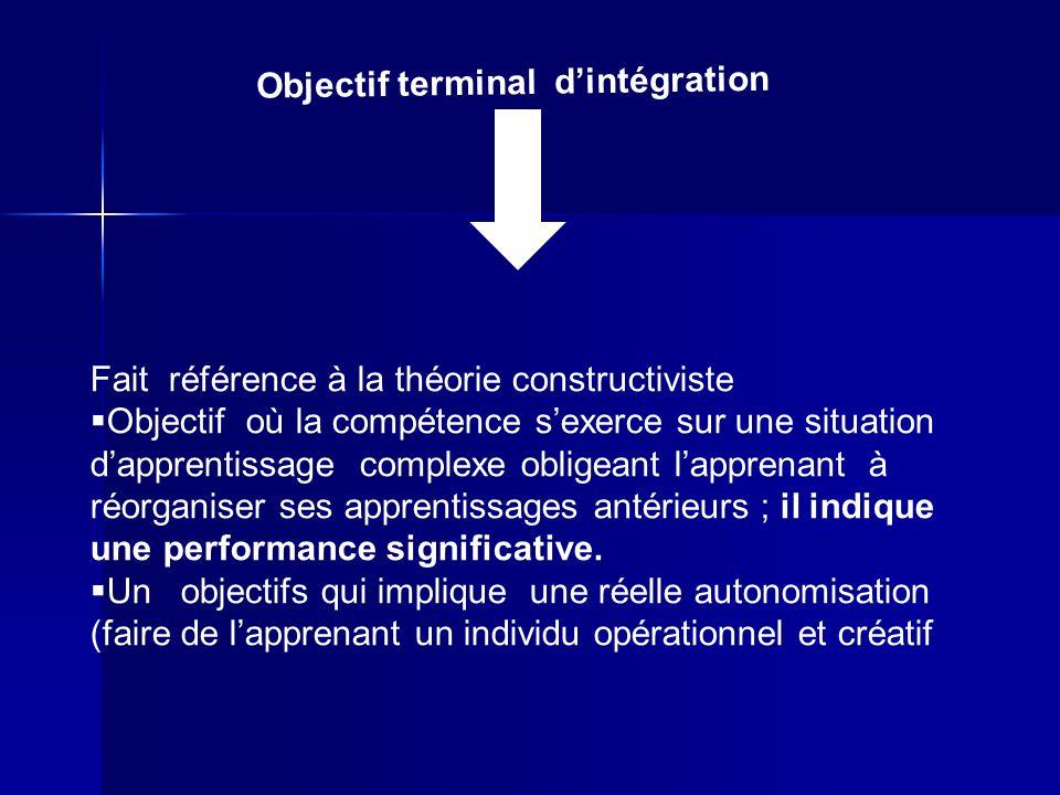 Objectif terminal d'intégration