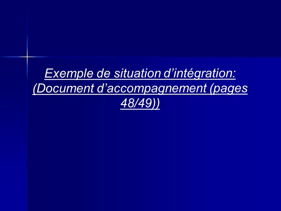 Exemple de situation d'intégration:
