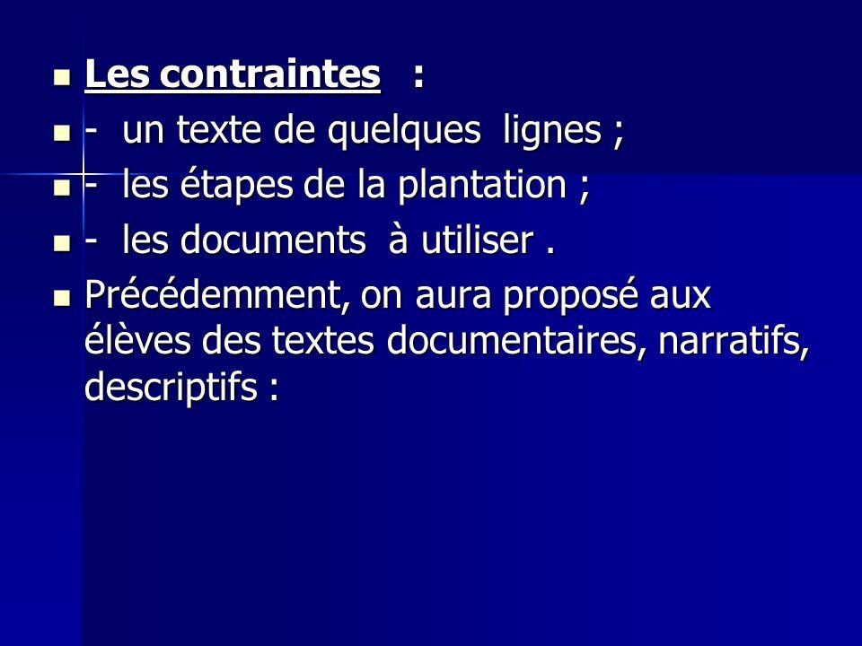 Les contraintes : - un texte de quelques lignes ; - les étapes de la plantation ; - les documents à utiliser .
