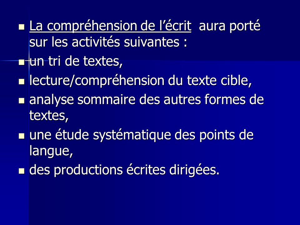 La compréhension de l'écrit aura porté sur les activités suivantes :