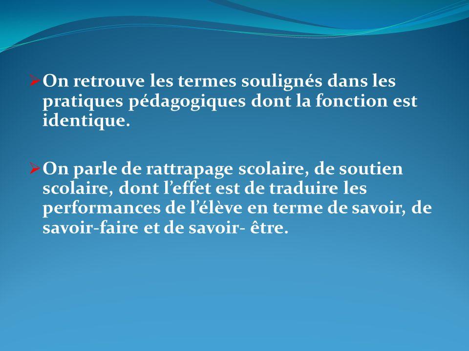 On retrouve les termes soulignés dans les pratiques pédagogiques dont la fonction est identique.