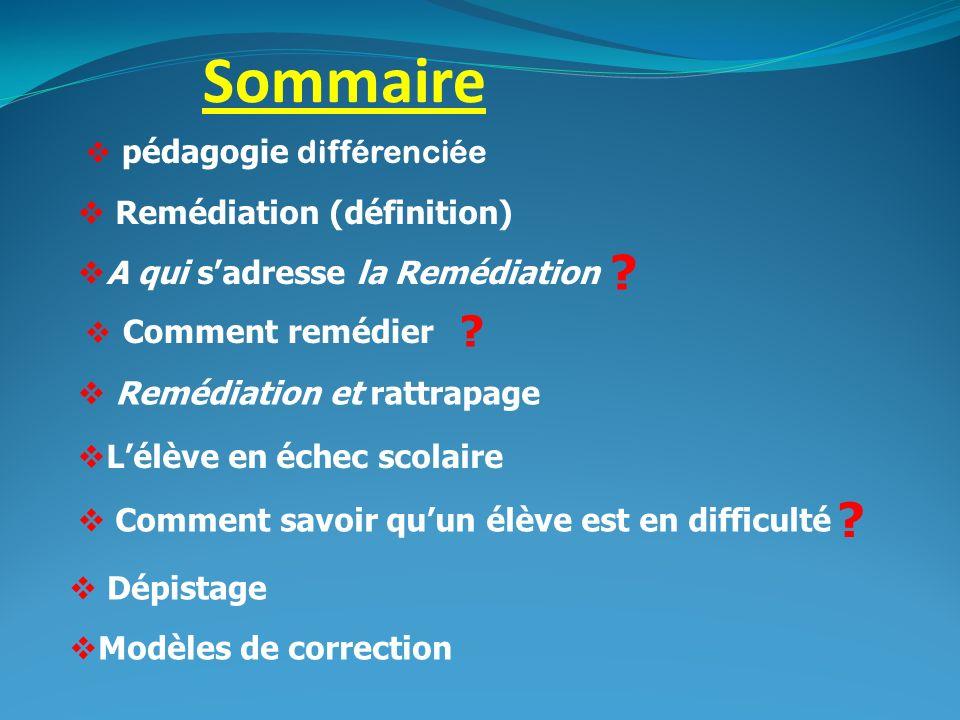 Sommaire pédagogie différenciée Remédiation (définition)