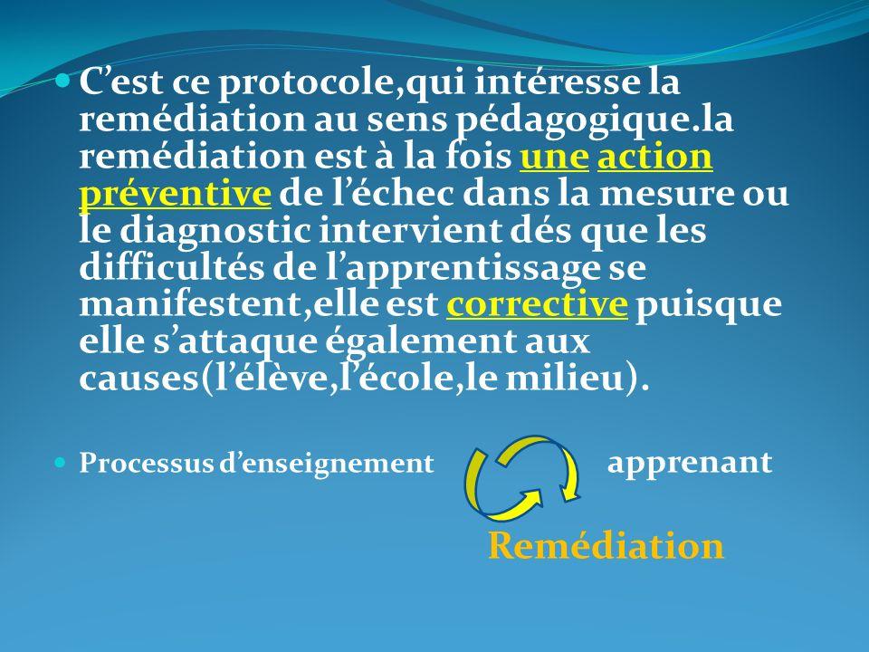 C'est ce protocole,qui intéresse la remédiation au sens pédagogique